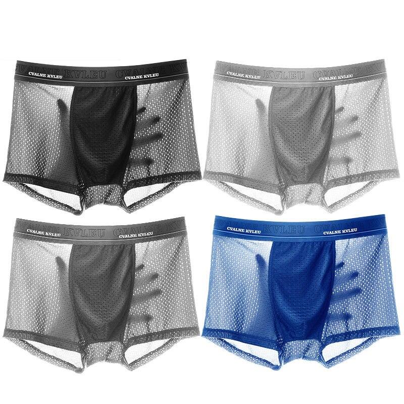2/4/pcs/lot  mens underwear boxers mesh Men's breathable and cool underwear for men fishnet shorts