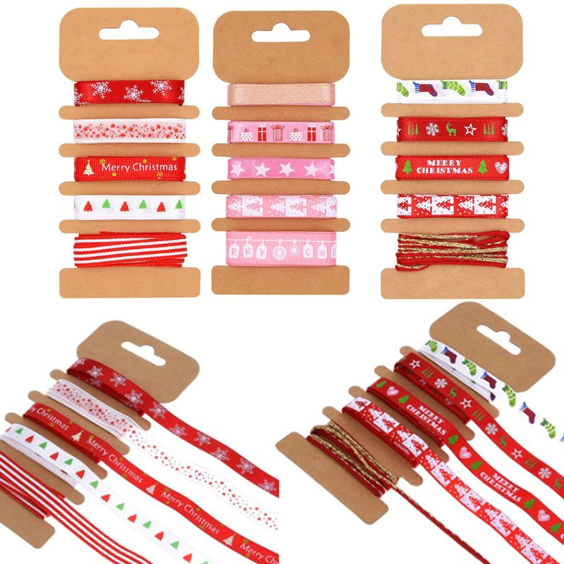 5Pcs Merry Christmas Metallic Grosgrain Ribbon for DIY Hair Bow Gift Wrapping M6CD