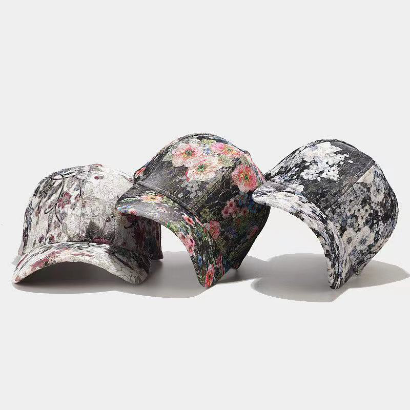 2021 new hat women fashion leisure sports flower lace baseball cap ladies embroidered cap