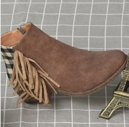 Retro kadın yarım çizmeler püskül yan kontrol geri fermuar tıknaz topuk bayanlar ayakkabı yuvarlak ayak düşük topuk kadın botları botas mujer