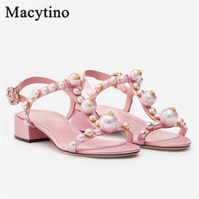 Sandals Flat Heel Embellished Shoes Women Pink Pearl T-Strap Comfort Summer