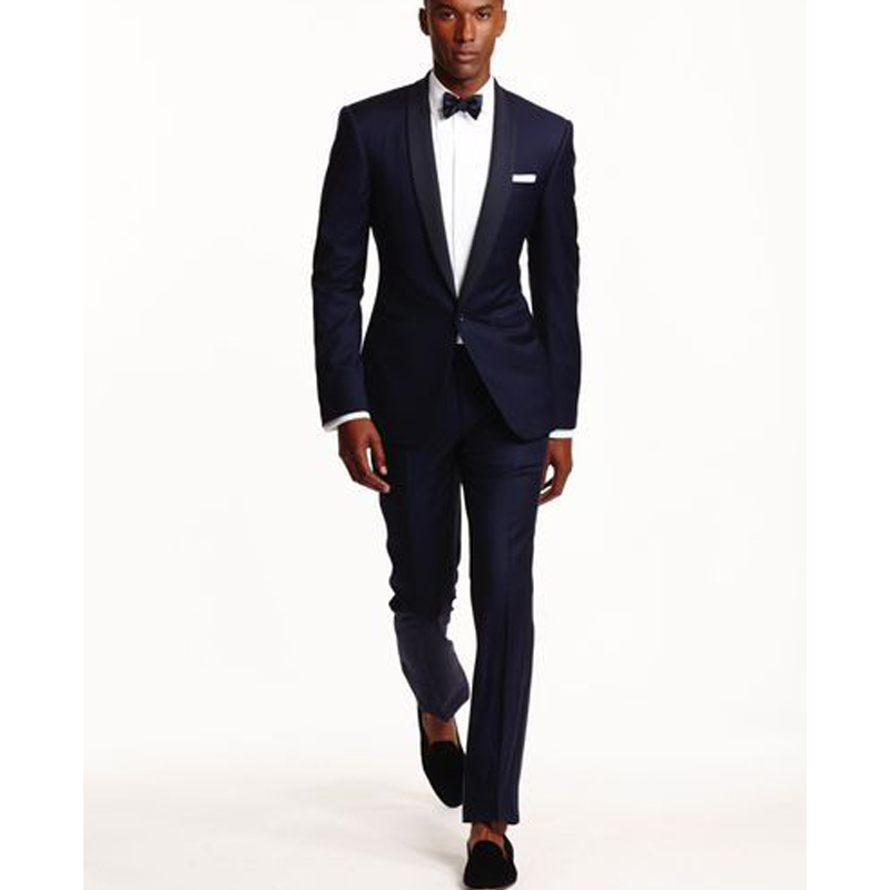2020 Navy Blue Business Men Suits For Groom Wear Shawl Lapel One Button Skinny Style Two Piece Wedding Tuxedos (Jacket + Pants)