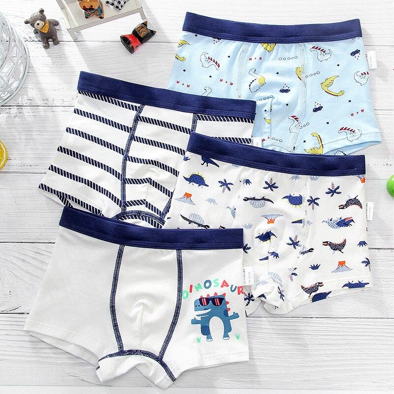 4 шт./Лот, хлопковые трусы-шорты для мальчиков 3-12 лет