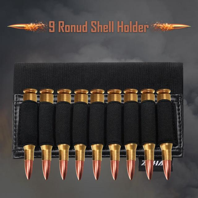 ZOHAN 9 Rounds Tactical Rifle Buttstock Shell Holder Stock Cartridge Holder Ammo Carrier Bullet Pouch Hunting Accessory 6