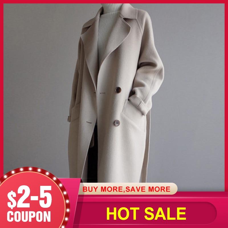 2019 зимнее пальто женское широкий лацкан и пояс карманное шерстяное пальто оверсайз длинное пальто шерстяное пальто женское