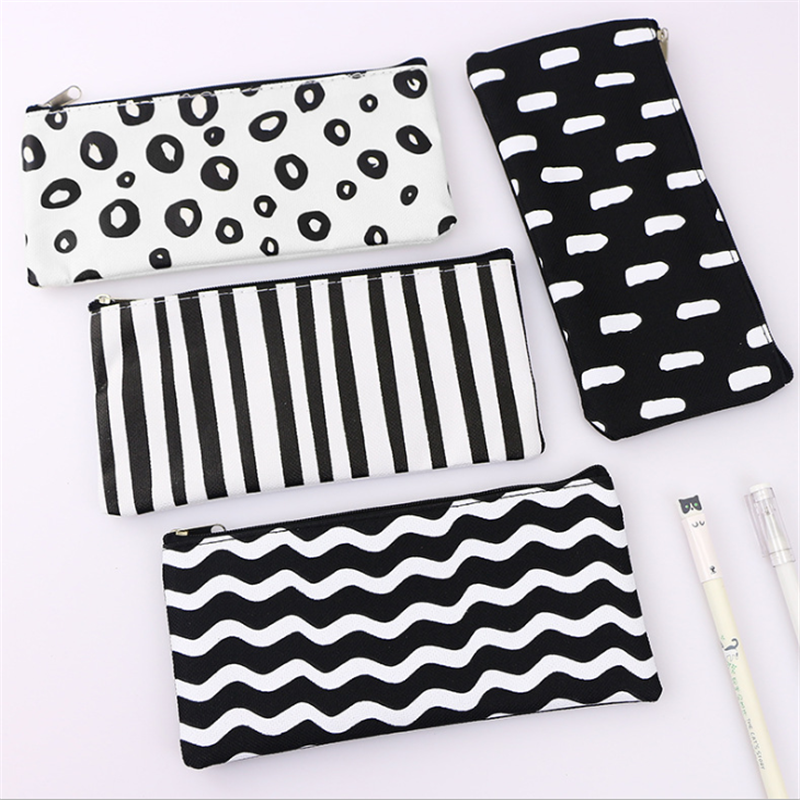 Vogvigo Strip Wave Dot Transparent Makeup Bag PVC Zipper Cosmetic Organizer Bag Students School Cosmetic Pencil Bag Case Pouch