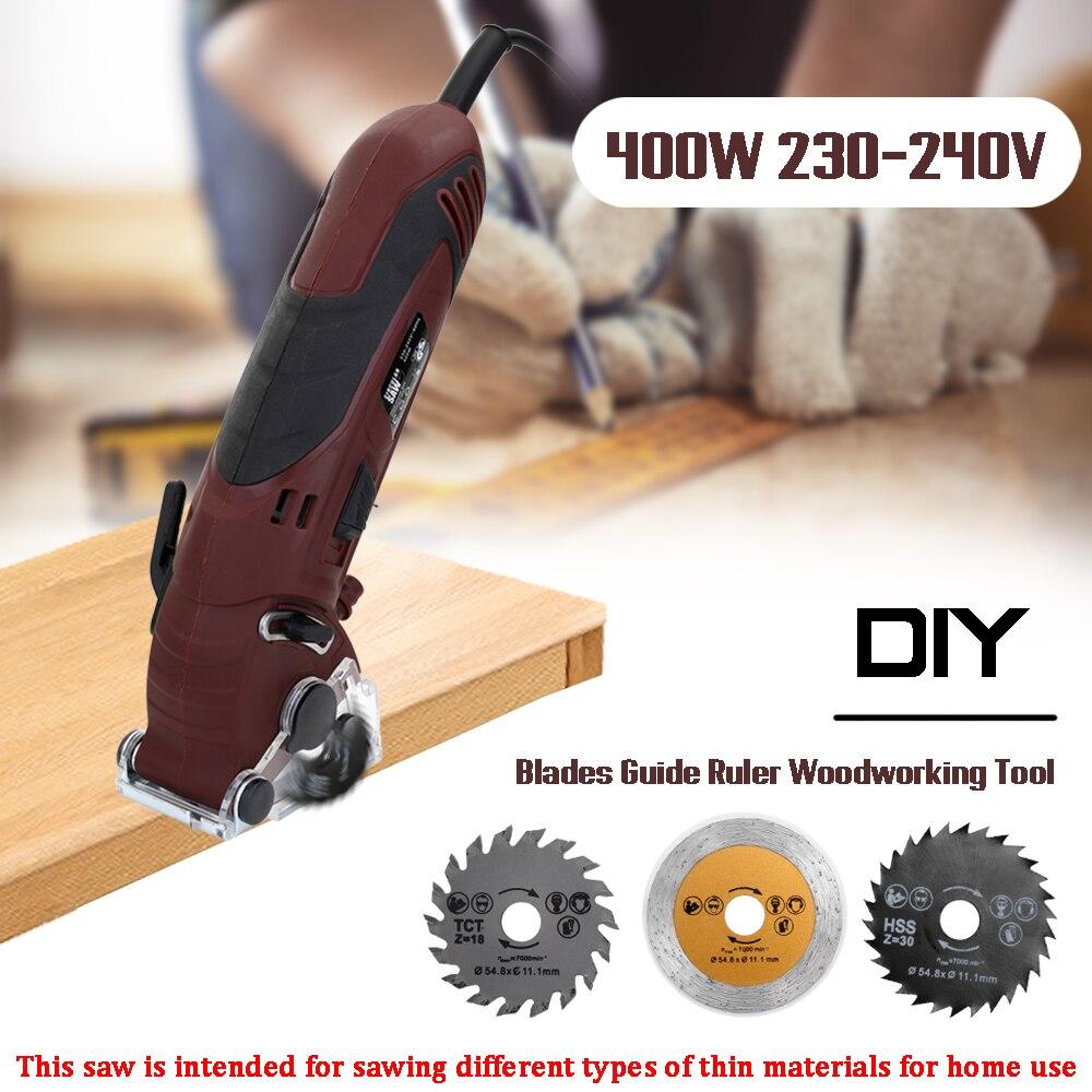 400W 230-240V multifonctionnel Mini électrique scie sauteuse circulaire Kit Machine de découpe ensemble bricolage lames Guide règle outil de travail du bois