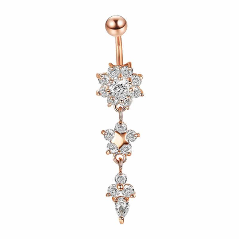 Fantezi Dangle Göbek Barlar Belly Button Altın Gümüş Yüzük Göbek Piercing Kristal Çiçek göbek takısı Göbek Piercing küpe Damla