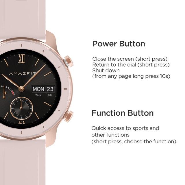 Em estoque versão global novo amazfit gtr 42mm relógio inteligente 5atm relógios femininos 12 dias bateria controle de música para android ios 6