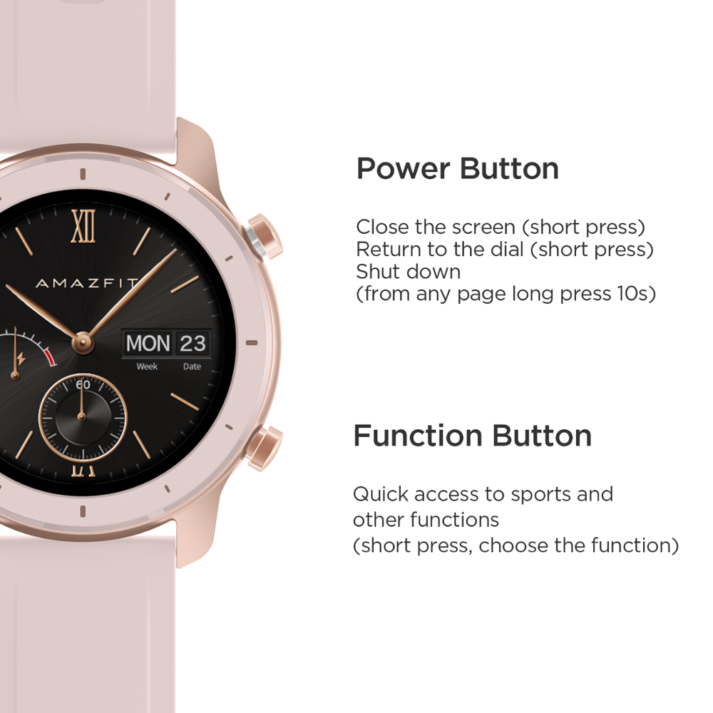 Closeout DealsµAmazfit Music-Control Battery Smart-Watch 42mm Global-Version Android for IOS 5ATM 12days