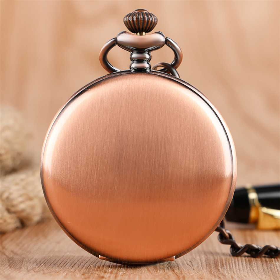 Vintage Red Copper Pocket Watch Double Smooth Hunters Arabic Numerals Display Punk Pocket Chain Pendant Clock Quartz Movement