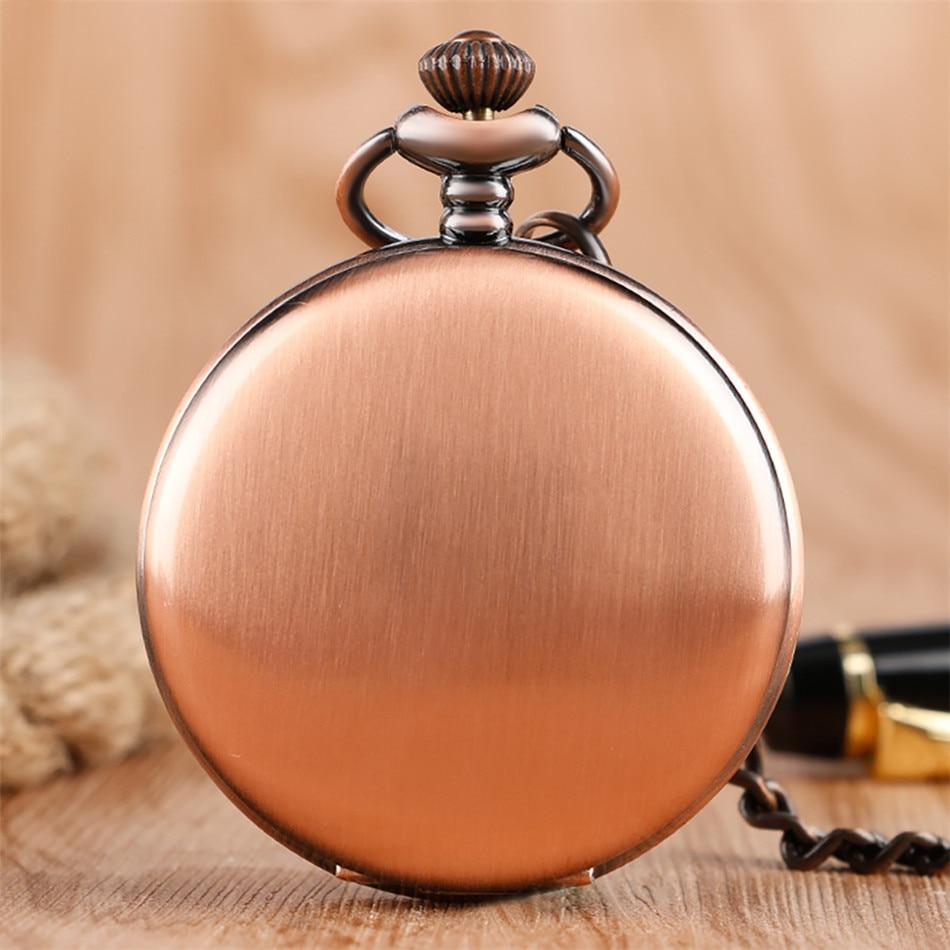 Vintage Red Copper Pocket Watch Double Smooth Hunters Arabic Numerals Display Punk Pocket Chain Pendant Clock Quartz Movement