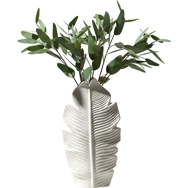 3 pièces artisanat céramique Vase fleur Vase décoration accessoires pour la maison feuille forme jardinières bureau bureau décor Figurines cadeaux