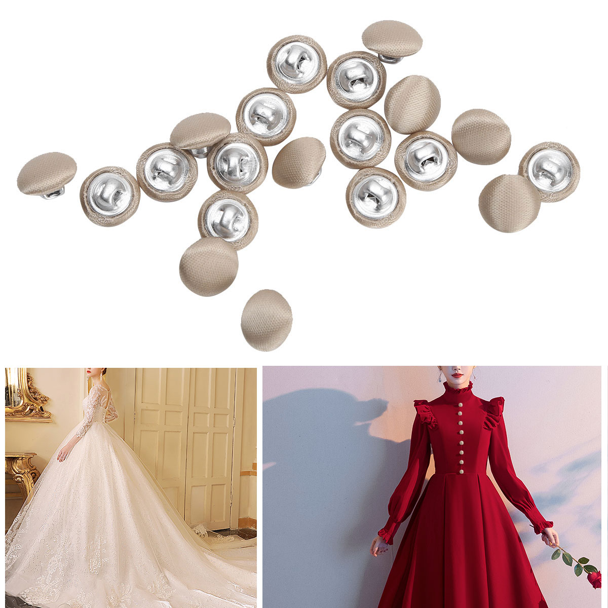 20Pcs 10mm Smooth Satin Covered  Metal Shank Buttons for Gowns Blouses Coats
