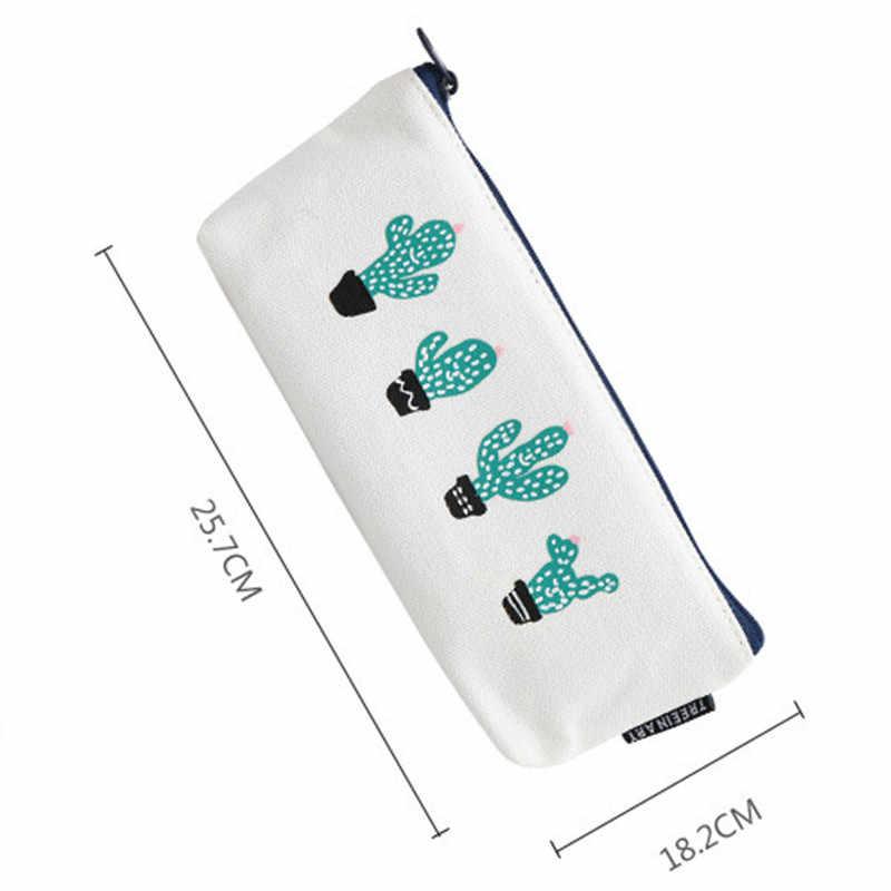 Kumaş tuval kaktüs kalem kutusu sevimli okul kalem kutusu yenilik kırtasiye ofis mum boya kalem kutusu kalem çantası Kawaii okul malzemeleri