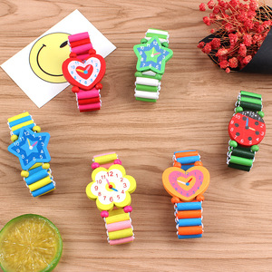 Image 2 - 3pcs/lot Wooden Wristwatches Nice Cartoon Crafts Bracelet Watches Handicrafts Toys for Kids Learning & Education Party Favors
