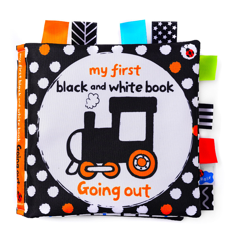 LakaRose Baby Black and White Label Cloth Book Newborn Infant Early Education Books Cloth Quiet Books 3