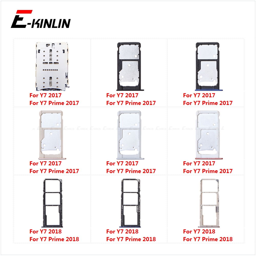 Micro SD Sim Card Tray Socket Slot Adapter Connector Reader For HuaWei Y7 Prime 2018 2017 Container Holder Replacement Parts
