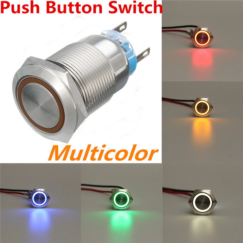 Electric Waterproof Power <font><b>19mm</b></font> Push Button <font><b>Switch</b></font> Ring <font><b>LED</b></font> Auto Power 12V Momentary Waterproof 5 Pins For Car Auto Boat image