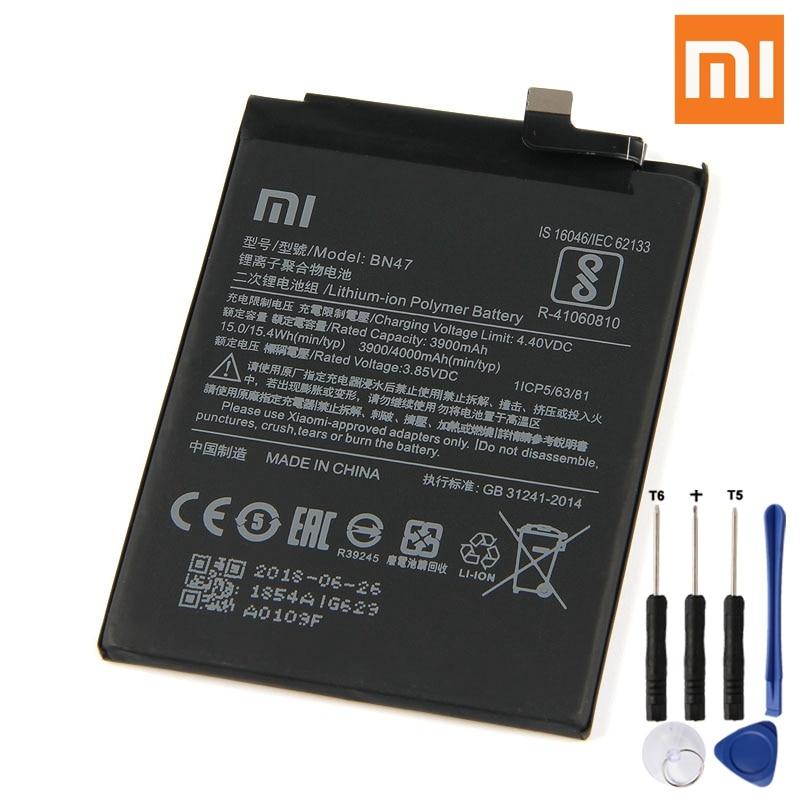 Xiao Mi Original BN47 Battery For Xiaomi Redmi 6pro Hongmi 6 Pro Redrice Genuine Replacement Phone 4000mAh