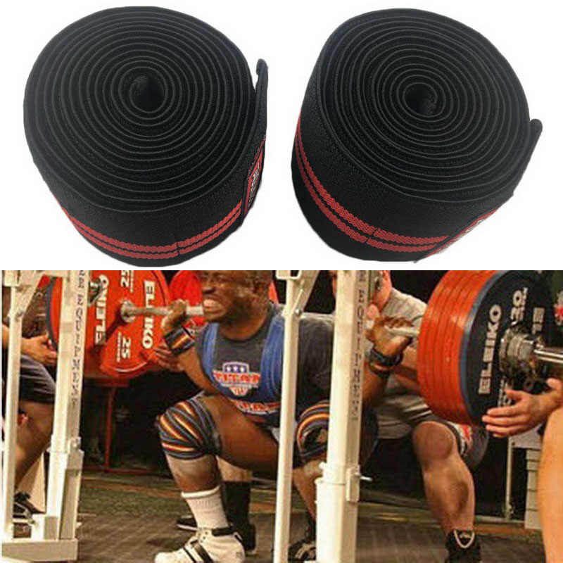 Knee Wraps Bandage Elasticated Power Weightlifting Gym Training In White /& Red