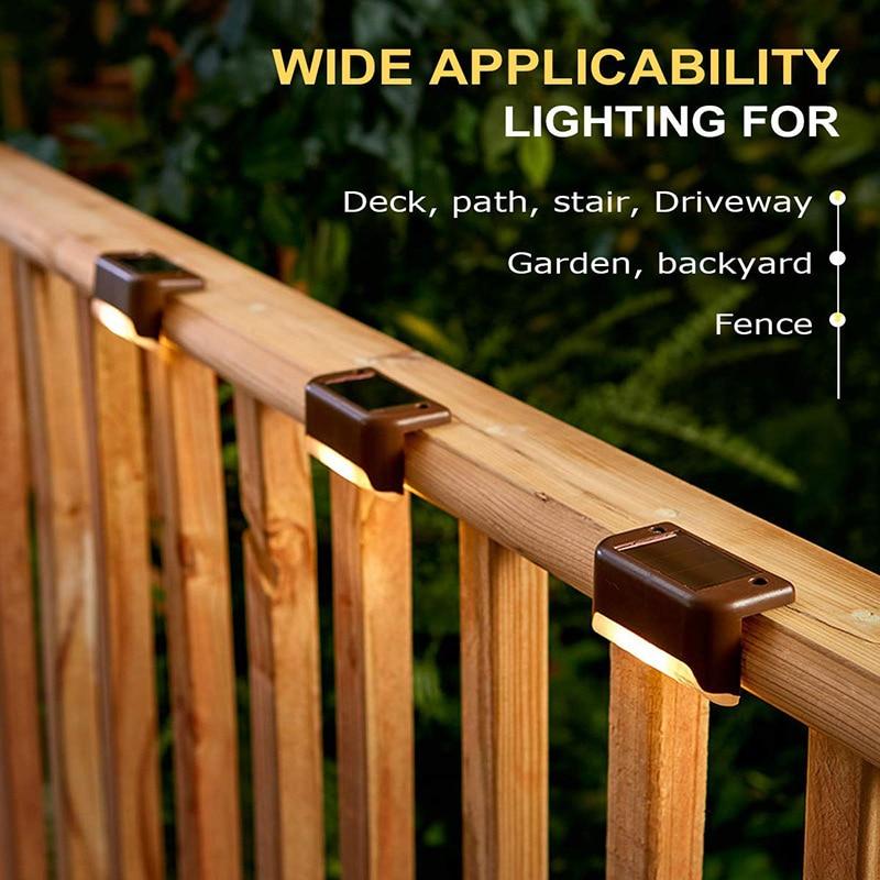 12PCS Solar Garden Lights Outdoor Waterproof Solar Deck Lights For Patio Stairs Garden Pathway Fences Yard