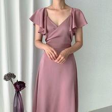 YAMDI woman summer elegant short sleeve vintage a-line dresses midi dre