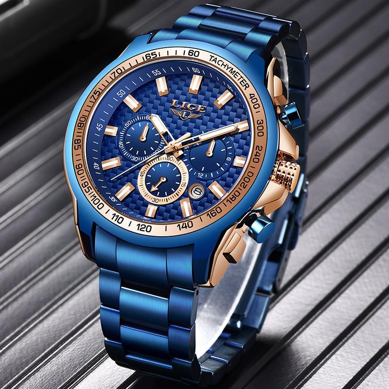 LIGE Mens Watches Military Sport Watch For Men Fashion Business Watch Stainless Steel Waterproof Quartz Clock Relogio Masculino