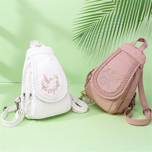 Image 2 - Butterfly Embroidery Sheepskin Women Backpack 3 in 1 Soft Genuine Leather Chest Bag For Mother Ladies  Large Capacity Bagpack