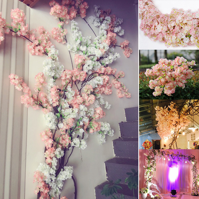 Cherry Blossoms Simulation Faux-Flower Silk Wedding Home-Party Ornament DIY title=