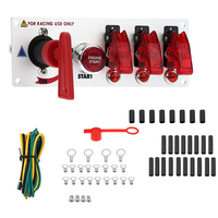 Auto Racing Car Ignition Switch Panel 12V LED Toggle Ignition Switch Panel Engine Start Push Btns Buttons Kit Set BS010