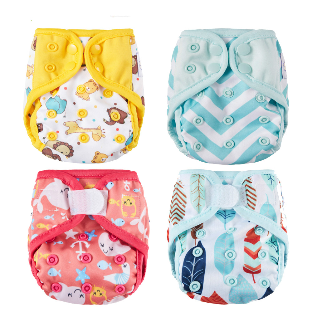 Newborn Diaper Cover Cloth  Diapers Tiny 5KG  Baby Waterproof One Double Gussets Diaper  Fit Size