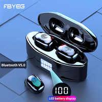 Bezprzewodowe słuchawki Bluetooth V5.0 TWS bezprzewodowe słuchawki z Bluetooth wyświetlacz LED Stereo wodoodporny panel dotykowy zestaw słuchawkowy z mikrofonem
