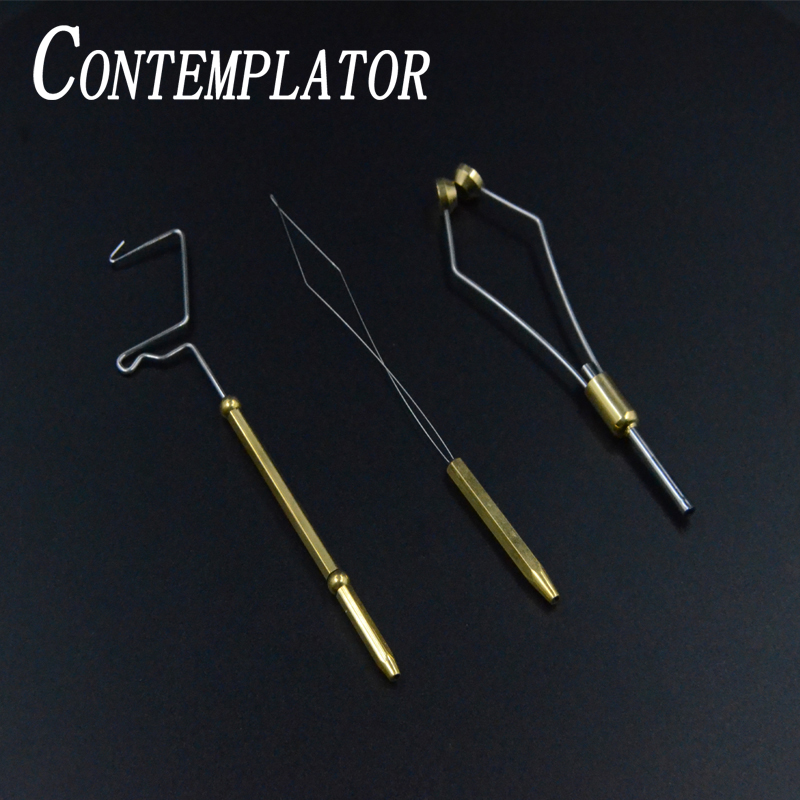 CONTEMPLATOR 3pcs Novice Fly Tying Tools Suit Bobbin Threader&ceramic Tip Bobbin Holder&rotary Whip Finisher Fly Fishing Combo