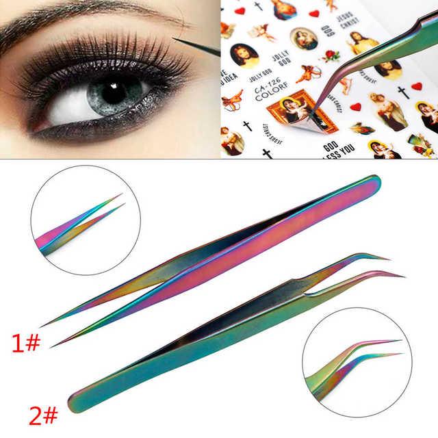 1Pc Anti-Static Rainbow Stainless Steel Curved Straight Eyebrow Tweezers Eyelash Extension Nail Art DIY Makeup Tools Kit 1