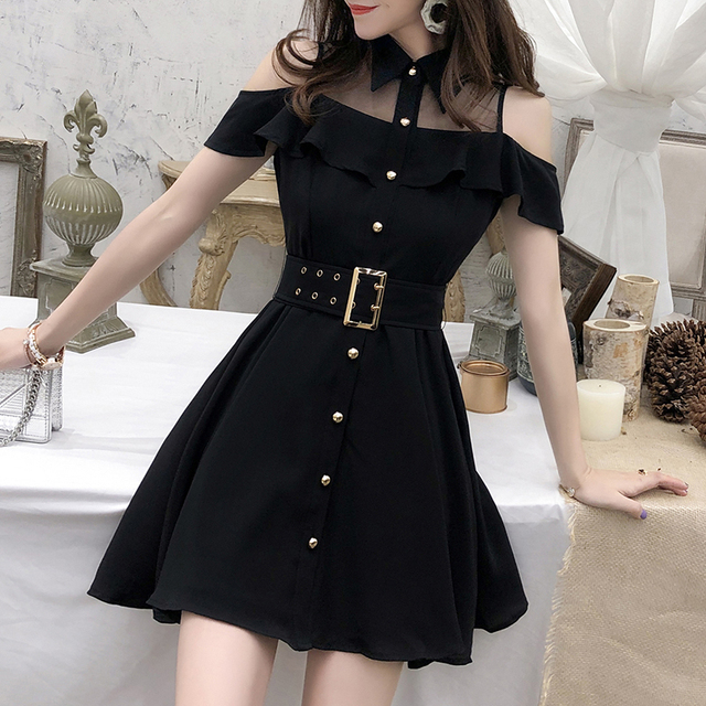 ZAWFL Elegant Women Lace Black Ruffle Mesh Splice Turn-Down Collar Dress Casual A Line Mid Length Dress 2020 Summer 1