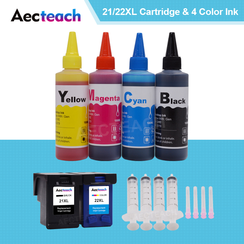 Aecteach For HP 21 22 XL For Hp21 Hp22 Ink Cartridges For Hp Deskjet F2180 F2200 F2280 F4180 F300 Printer + 4 Bottle Dye Ink