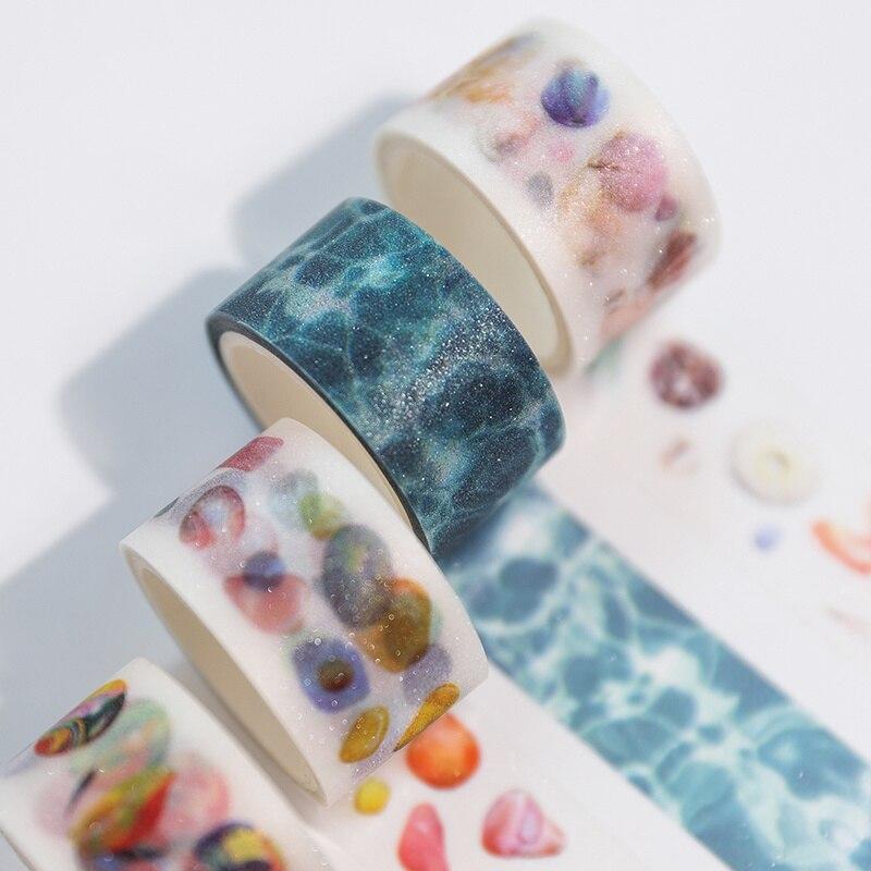 6pcs Childhood Memories Washi Tape Set Bling Diamond Crystal Marble Rain Water Pet Matte Adhesive Masking Tapes Stickers A6177
