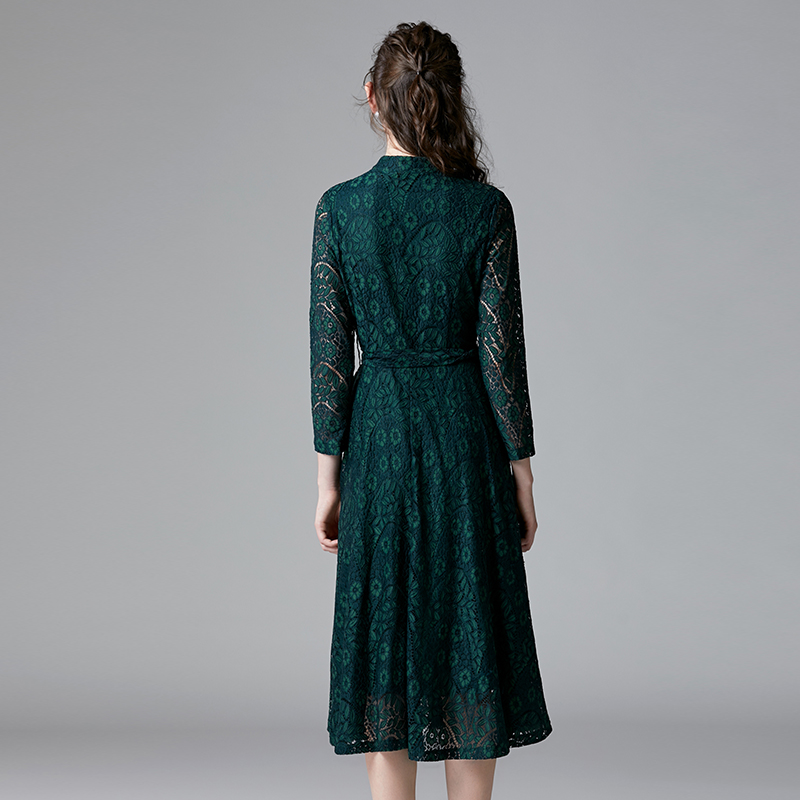 TAOYIZHUAI automne style décontracté robe pour les femmes o cou fit et flare taille haute bouton poignet genou longueur grande taille 14294 - 2
