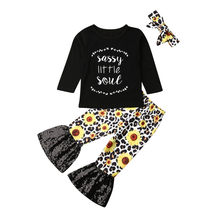 Children's Set Toddler Baby Girl Clothes Long Sleeve Black Tops Sunflower Pants Headband Outfits Set(China)