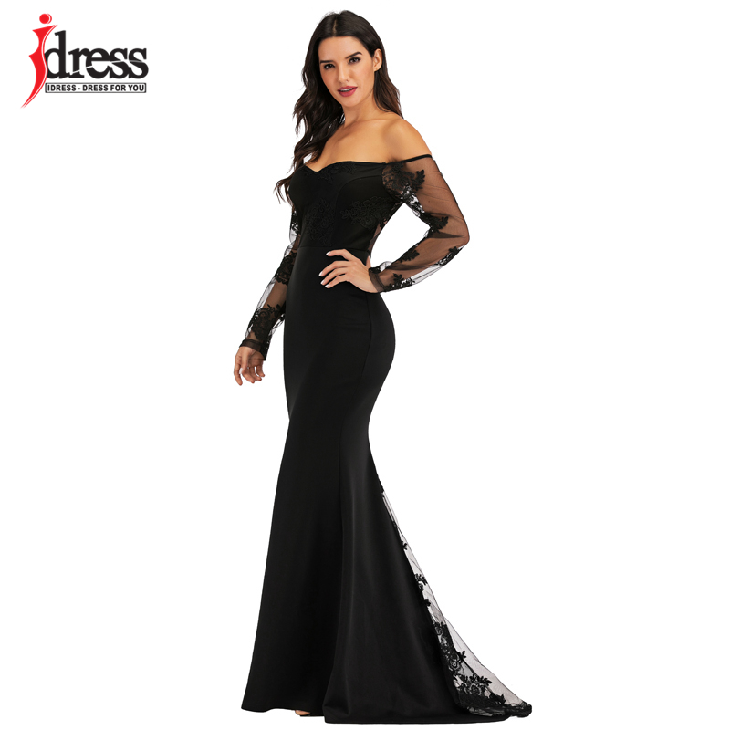 IDress Sexy Slash Neck Off Shoulder Designer Runway Dress Formal Prom Long Dress Women Lace Embroidery Evening Party Dress Long (3)