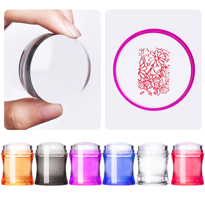 1 Pc Nail Stamper Set Clear Nail Scraper Colorful Handle Jelly Silicone Stamper Head Stamping Plates Nail Art Tools