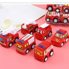 6 pçs modelo de carro brinquedo puxar para trás brinquedos de carro veículo móvel caminhão de bombeiros modelo de táxi miúdo mini carros menino brinquedos presente diecasts brinquedo para crianças