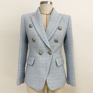 Image 2 - HIGH STREET 2020 Newest Baroque Designer Blazer Womens Lion Metal Buttons Wool Tweed Blazer Jacket