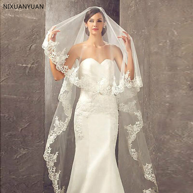 Hot Sale 2020 Wedding Veil Lace Cathedral Wedding Accessories White Ivory Cheap Long Voile Marriage Bridal Veil With Comb