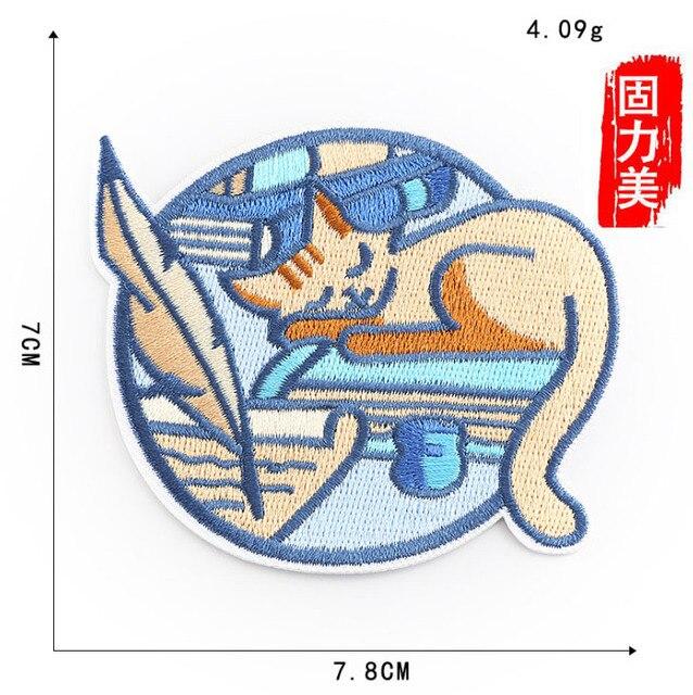 6 uds. Insignia de bordado redondo gato durmiendo casa lápiz hombre montaña mar patines cactus pedrería para aplicación con plancha parche
