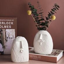 Nordic Home Decoration Funny Face Ceramic Vase Furnishing Decorative Vases Ceramic Living Room Decor Modern Home Decor Gifts