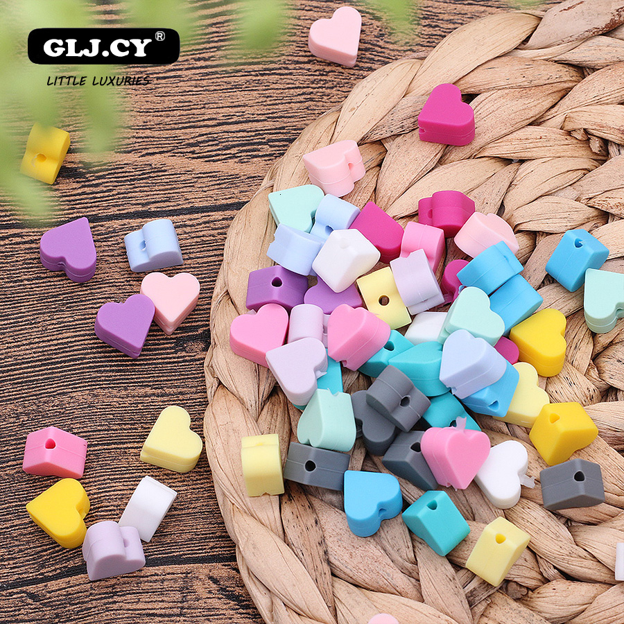 40pcs Heart Silicone Beads Baby Teething Beads Food Grade Silicone Teethers Baby Products DIY Pacifier Accessories