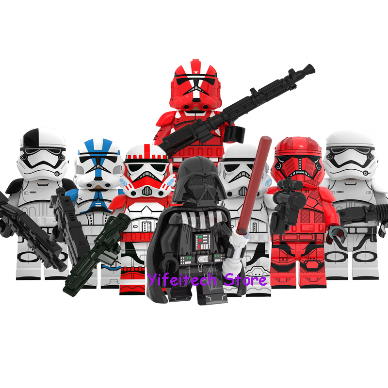 8Pcs Star Wars Imperial Clone Troopers Darth Vader Sith Trooper Stormtroopers Model Building Blocks Figure Toys For Children