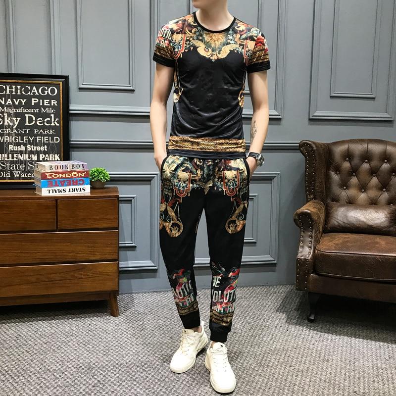 Brand Vintage Print Tracksuit Set Men's Sportswear Summer 2Pcs Tshirts+sweatpants Luxury Men Clothes Social Casual Suits Sets